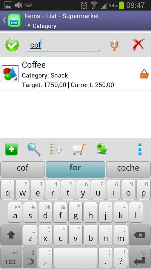Perfect Shopping List - screenshot