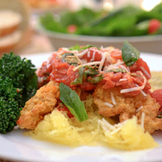 Tyson Crispy Chicken Strips with Prosciutto & Basil Marinara over Spaghetti Squash