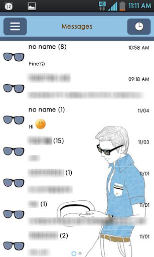 chasinam blue GO sms theme