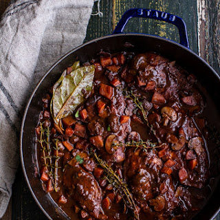 One-Pot 45 Minute Coq au Vin with Brown Butter Sage Mashed Potatoes.