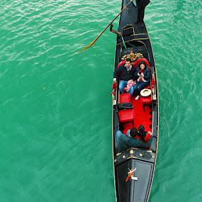 The Green and The Gondola by Reetam Banerjee - Transportation Boats ( gondola, transport, venice, travel, boat, canal, italy )