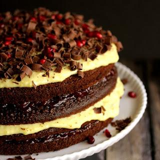 Chocolate Cherry Pomegranate Eggnog Cake