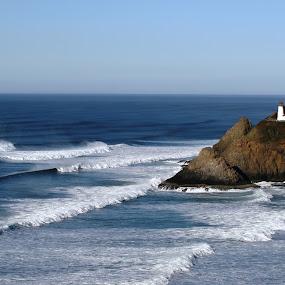 Heceta Head Lighthouse by Bill Waterman - Landscapes Beaches ( waves, lighthouse, ocean, beach, landscape,  )