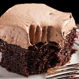 Easy Chocolate Sheet Cake with Mocha Buttercream Frosting.
