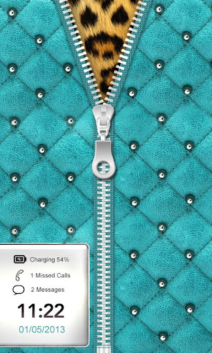 Luxury Teal Zipper Lock Screen