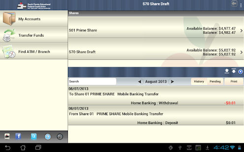 SFEFCU Android Tablet - screenshot thumbnail