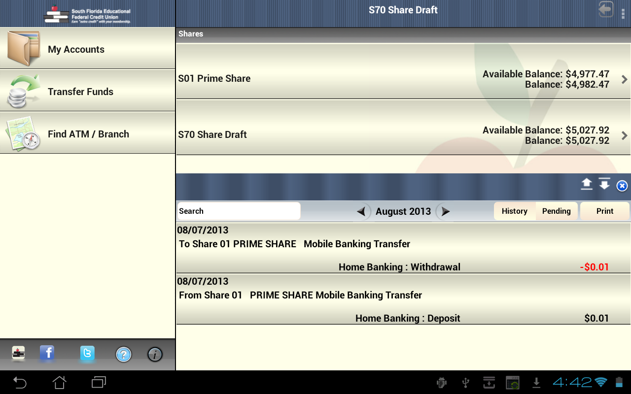 SFEFCU Android Tablet - screenshot