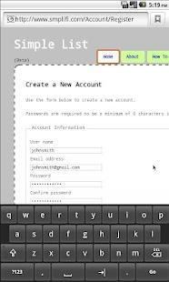 Simple List- screenshot thumbnail