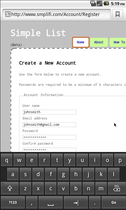 Simple List- screenshot
