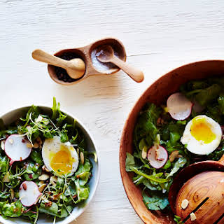 Arugula Breakfast Salad with Soft Boiled Eggs.