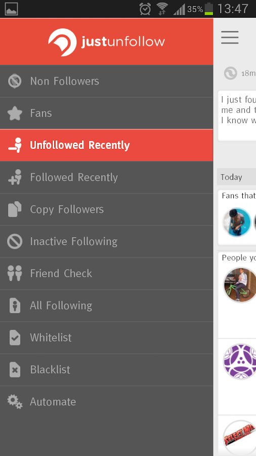 JustUnfollow Twitter Instagram - screenshot