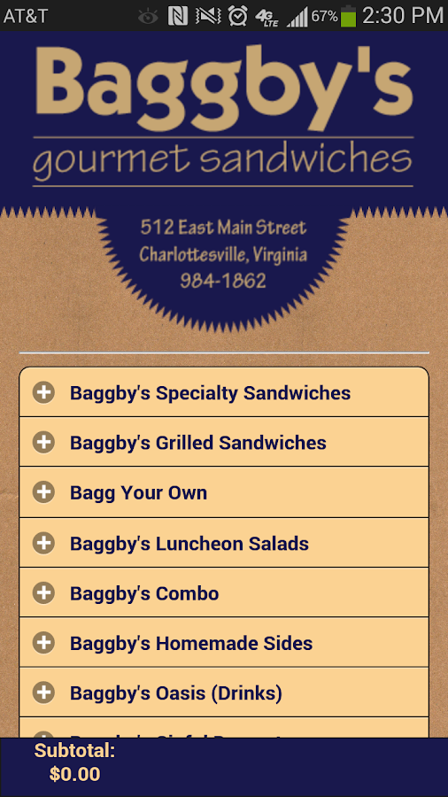 Baggby's Gourmet Sandwiches- screenshot
