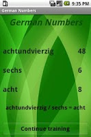 Screenshot of Learn German Numbers