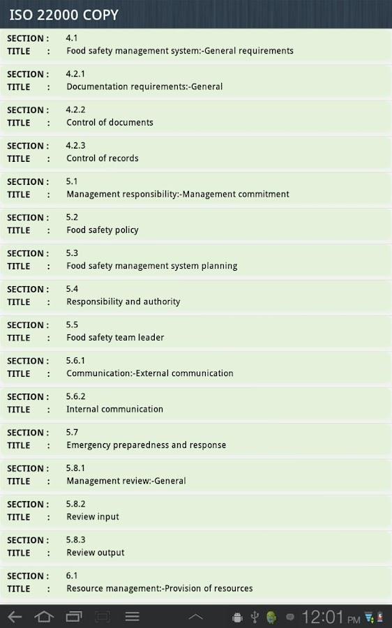 ISO 22000 Audit- screenshot