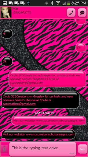 GO SMS - Hot Zebra Pink