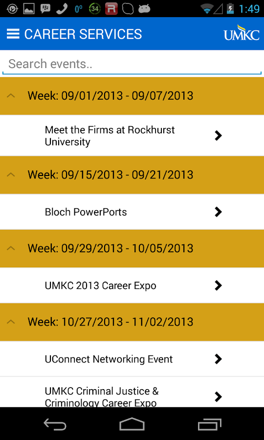 UMKC Career Services - screenshot