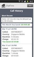 Screenshot of International calling