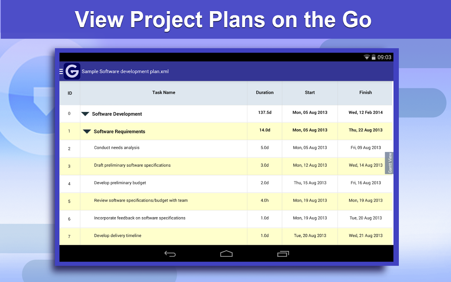 Gantt Pro -Project Plan Reader- screenshot