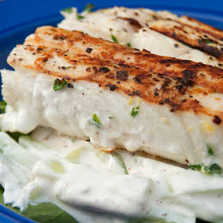 Lemon-Thyme Grilled Fish with Cucumbers and Arugula.