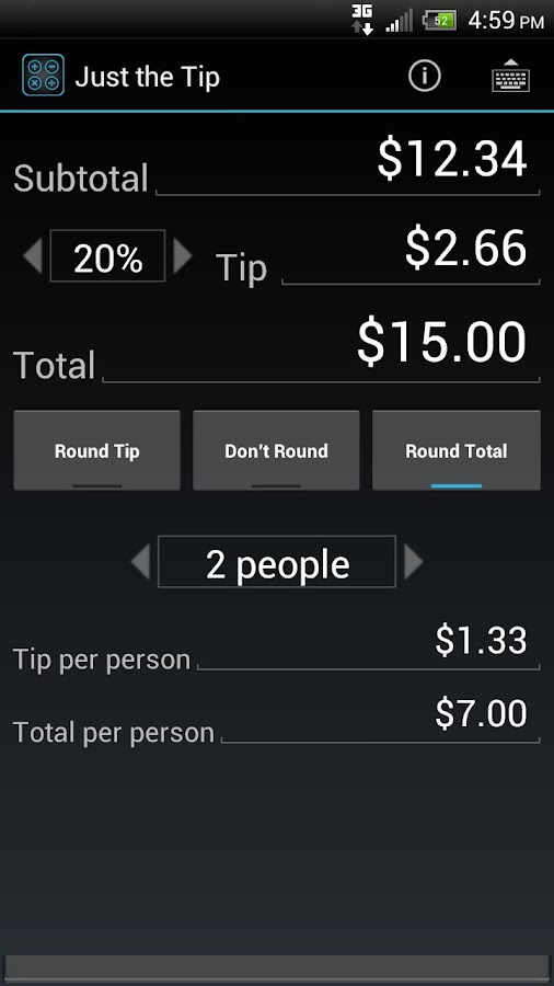 Just the Tip - Tip Calculator - screenshot