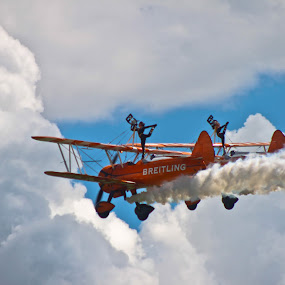 Wing walkers by Catherine Cross - Transportation Airplanes ( clouds, flying, sky, aeroplane, wing walkers )
