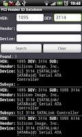 Screenshot of PCI Vendor/Device Database