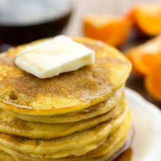 Orange Vanilla Pancakes with Vanilla Maple Syrup.