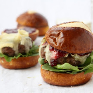 Brie & Jam Burgers on Pretzel Rolls.
