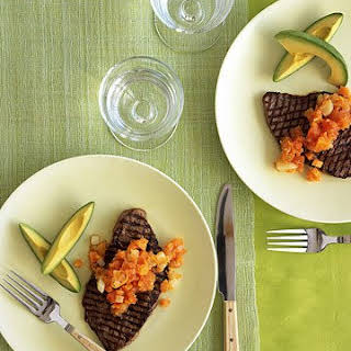 Steak with Spicy Papaya-Carrot Salsa.