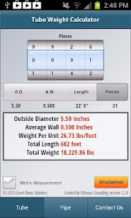 Tube/Pipe Weight Calculator - screenshot thumbnail