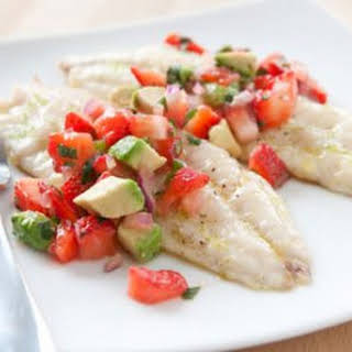 Grilled Red Snapper with Strawberry and Avocado Salsa.