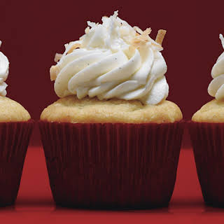 Vanilla Bean-Coconut Cupcakes with Coconut Frosting.