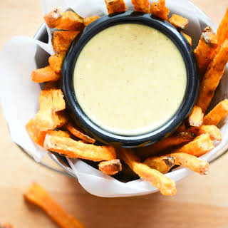 Baked Sweet Potato Fries with Maple Mustard Dipping Sauce.