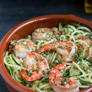 Cucumber Noodles with Garlic Shrimps.