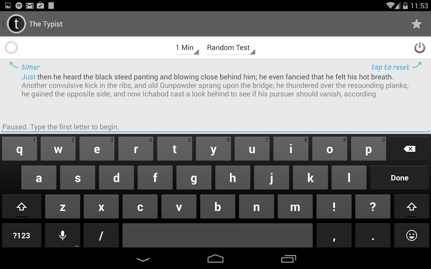 Typist: A Quick Typing Test- screenshot