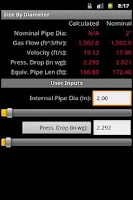 Screenshot of HVAC Pipe Sizer - Gas Low