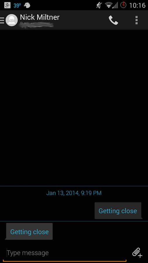 Evolve SMS - Dark Holo Theme - screenshot