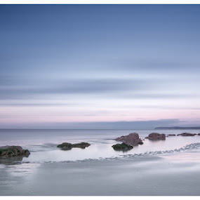Quiet Evening by Dominic Schroeyers - Landscapes Waterscapes ( exposure, water, reflection, cliffs, sky, colors, sea, beach, rocks, evening )