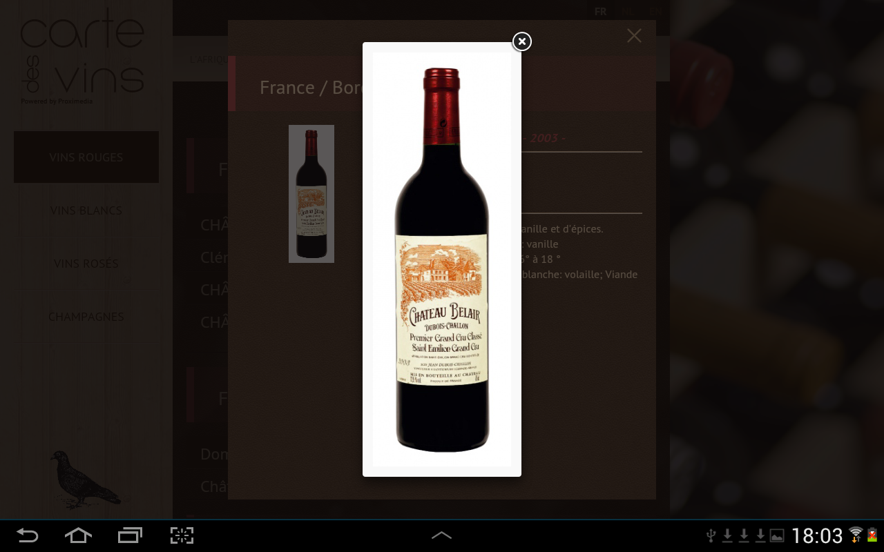 Carte des vins- screenshot