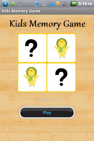Kids Memory Board Game