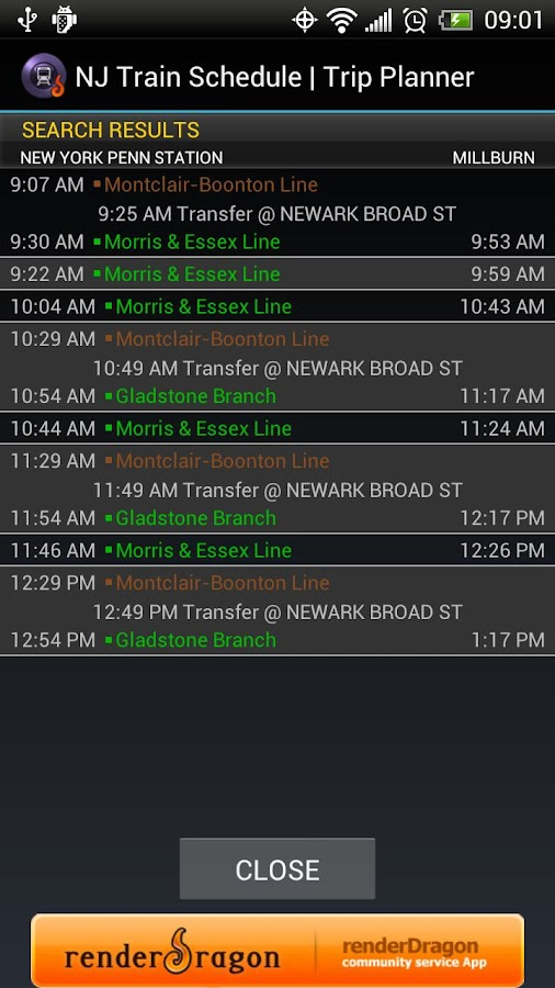 NJ Train Schedule - screenshot