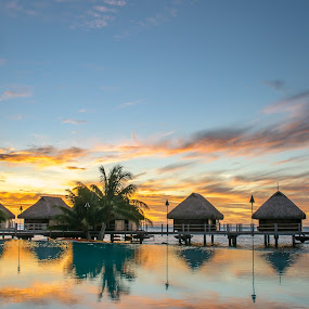 MMPI_20140521_MMCK0051_0062 by Mick McKean - Landscapes Travel ( reflection, tod, time of day, events, windward islands, travel, landscape, colour, pool, event, resort, gold, building, structure, lagoon, colors, french polynesia, overwater bungalow, colours, holiday, color, sunset, sundown, moorea pearl resort, moorea,  )