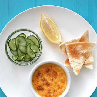 The Tannery's Crab Crème Brûlée with Pickled Cucumber and Melba Toast