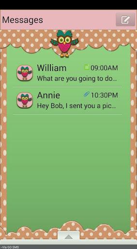 HootOwl GO SMS THEME