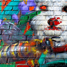 Dog by Ronnie Caplan - City,  Street & Park  Street Scenes ( building, painted, colourful, facade, bee, graffiti, street, bricks, wall, , colorful, mood factory, vibrant, happiness, January, moods, emotions, inspiration )