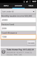 Screenshot of SA Tax Calculator