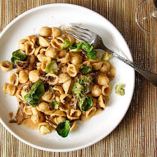 Pasta With Mushrooms, Brussels Sprouts, and Parmesan.