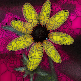 Yellow Flower in Stained Glass by Maureen McDonald - Digital Art Things ( macro, stained flower, summer, bigbonelickpark, digital photography, yellow flower, kentucky, purple, yellow, color,  )