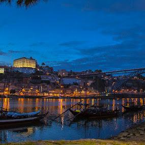 Blue Hour... by Fernando Cordeiro - City,  Street & Park  Vistas ( water, gaia, rebelo, bridge, light )