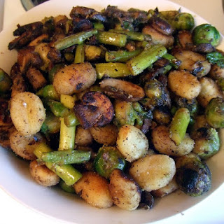 Crispy Gnocchi with Mushrooms, Asparagus, and Brussels Sprouts.